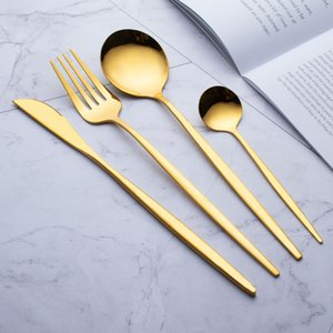 410 cubiertos de acero inoxidable vajilla barato 4 piezas en Oro Negro cubiertos de acero inoxidable cubiertos conjunto Conjunto Cuchillo Tenedor Set Vajilla Cubiertos