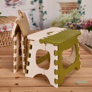 Thicken Plastic Folding Chair Children Outdoor Camping Train Portable Fold Chair Creative Green Beige Home Foldable Plastic Stool DBC VT0924
