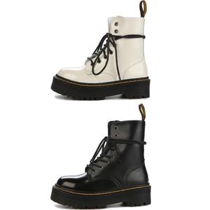 Новые женщины Dr Martins Winter пинетки Doc British Boots голеностопного Martens Черный Белый 100% из натуральной кожи на шнуровке ботинки с коробкой