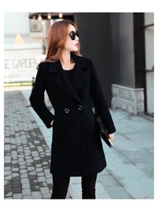 Manga diseñador para mujer casual mezclas de pecho doble cuello en V delgada larga de color sólido de lana abrigos de moda negocio de las señoras Outerwears