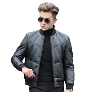 2020 Genuine Leather Jacket Men Winter Short Men's Down Jacket Sheepskin Coat Baseball Collar Chaqueta De Cuero P-Y8606B