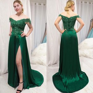 Sexy Side Split Evening Dresses Off The Shoulder Mermaid Prom Dresses Appliques Lace Sequins Arabic Zipper Back A-Line Party Gowns Robes
