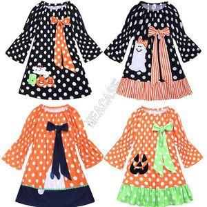 Robes INS Halloween Flare pleine manches bowknot Robe bébé Patchwork Noir à pois citrouille Cartoon Party Dress Costume d82501