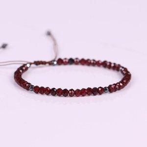 Natural Red Stone Bracelets Vintage Crystal Measly Beaded Braided Cuff Bracelet Reiki Blood Circulation Handmade Women Jewelry