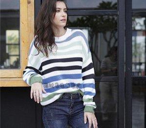 Suéter 2019 MS Europa y América Rainbow Stripe Stripe Suéter Moda Cuello redondo Sweot Sweeve Sweater Coat008