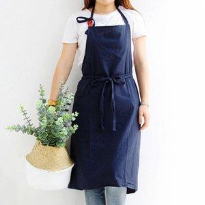 Pişirme Coffee Shop Temizleme Önlük Moda Unisex Katı Renk Ön Lace Up Cep Apron Pişirme Pamuk Önlük Yetişkin Çocuk Ev