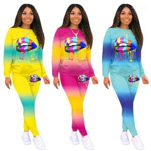 السراويل 20FW ملابس النساء عارضة النساء 2 قطعة تعيين عرضي كم طويل الرقبة يا الشفاه الملونة نمط اثنين من قطعة
