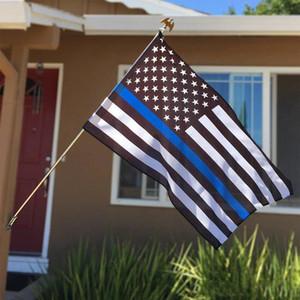 90 * 150cm loi agents d'application États-Unis États-Unis d'Amérique la police Thin Blue Line Drapeau Etats-Unis avec Œillets Home Decor 3x5 FT drapeaux bannière de EWE943