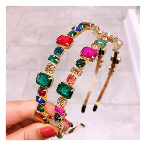Charm Crystal Headbands for Women Colorful Stud Headband Hairband Shiny Bling Rhinestone Hair Band Hoop Jewelry Accessories GWA2543