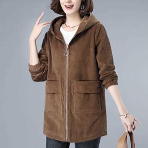 Wick Velvet Jacket Female Middle-length Autumn 2020 New Big Size Casual Coat