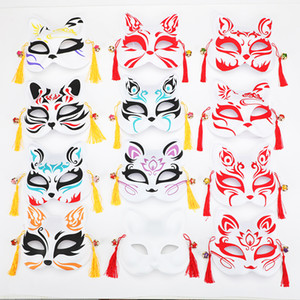 Masques Fox japonais peints à la main style PVC Fox Chat Masque Cosplay Festival de boule de mascarade Kabuki Kitsune cosplay costume JK2009XB