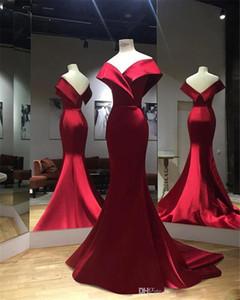 Red-Nixe-Abend-Kleider lang 2020 weg von der Schulter Backless Sweep Zug Fleck formale Abschlussball-Partei-Kleider vestido de noche Gewohnheit