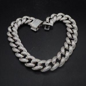 Hip Hop personnalisé 3Row CZ Bracelet Collier Glacé CZ Bling 25mm Chaînes chaîne Cuban Link Collier hommes Rue Rock Rap Bijoux g4zC #