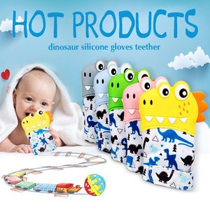 Baby Teething Gloves Child Sucking Fingers Thumb Cartoon Dinosaur Silicone Toy Toddle Nursing Teether Mittens Newborn Dental Care