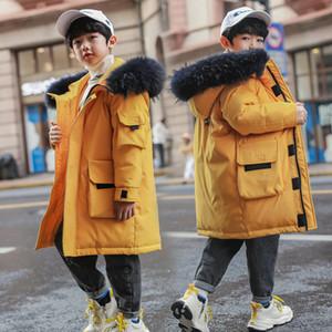 2020 ragazzi lungamente grande collo di pelliccia Piumini Bambini esterno di inverno con cappuccio antivento caldo giù ricopre bambini Bianco anatra Down Jacket