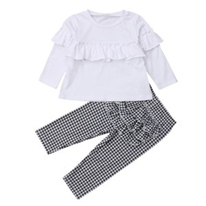 Excelent NEWEST lovely baby girls Toddler Baby Long Sleeve Solid Ruffle Tops+Pants Outfit Clothes Set Z0214
