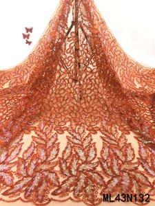 BEAUTIFICAL turuncu fransız bağcıkları nigerian düğün pullar elbise pullu için mtaerial dantel nakış tissu ML43N132