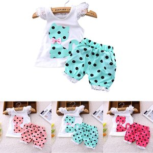 Girls Clothes Kids Cat Print Sets Summer Toddler Girl White Kawaii Animal Printing T-shirt Cartoon Shorts For Infant Girls