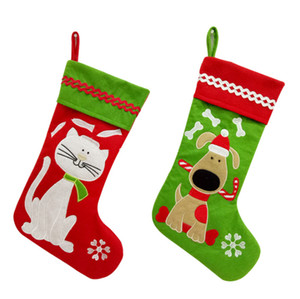 50pcs Christmas Pet Stocking Lovely Dog and Cat Embroidery Christmas Stocking Candy Gift Bags