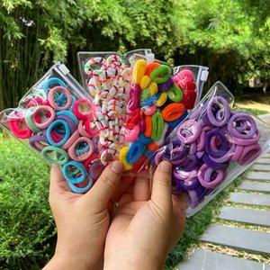 50 / Set Kız Candy Renk Saç bandı Küçük Esneklik Kauçuk Bant Naylon Kalınlaşmış Kafa Çocuk at kuyruğu Fixer Saç Aksesuarları