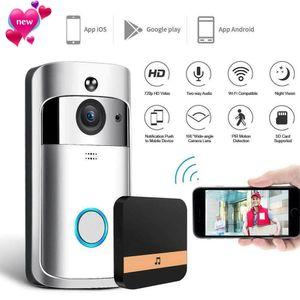 Os mais recentes WiFi Vídeo Doorbell IR Visual HD sem fio da câmera Smart Security com PIR Motion Detection Para IOS Android Phone APP Controle Porta Anel