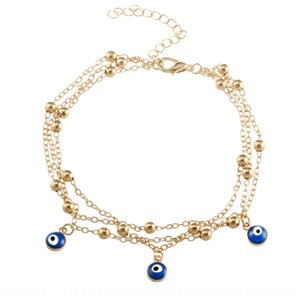 Nouveau Pendentif oeil bleu turc style bohème Pendentif plage chaîne perles bijoux pied pied chaîne B054
