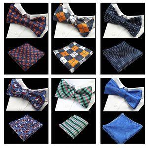 JEMYGINS Новое качество Само Tie Bow Tie И Hanky Комплект шелкового жаккарда сплетенные Мужчины Боути Платок Платок костюм Свадебный pAHv #