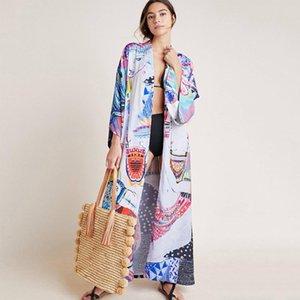 Bohemian Baskılı Sashes Öz Kuşaklı Plaj Bikini Cover Up Plus Size Pamuk Tunik Kadınlar Ön Açık Kimono Elbise Beachwea