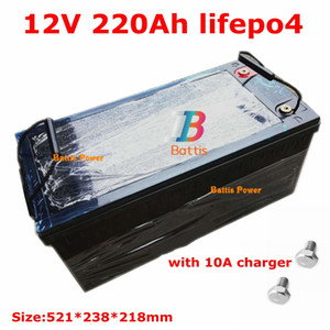 Waterproof Lifepo4 12V 220AH lithium battery 100A BMS 4S 12.8V for 1200W inverter Solar energy caravan fridge +10A Charger