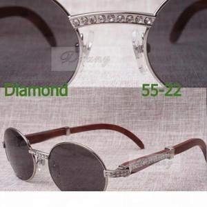 2019 New Diamond Round Sunglasses 7550178 Wood male sunglasses Size: 55-22-135mm