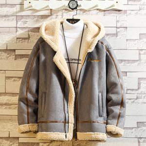 Bomberjacke Mann-Winter-starke warmer Fleece Teddy Mantel für Herren-Sportwear Anzug Male Fluffy Fleece Pullover Mantel