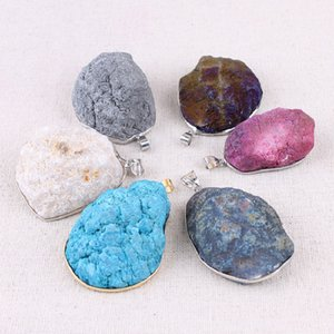 Quartz Crystal Stein-Anhänger-Charme Agates Pendulum Naturstein-Charme-Anhänger für Halsketten-DIY Schmucksachen, die Frauen Healing