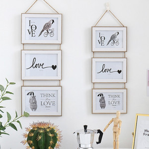 3 Connected Combination Wall Hanging Photo Frame Seamless Nail European Solid Wooden Clip Paper Picture Holder Wall Decoration C0927