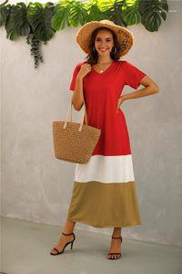 Womens V-neck contraste cor do vestido Mulher Plus Size Verão listrado 5XL retalhos de manga curta Vestidos Mulheres Moda soltos roupa ocasional