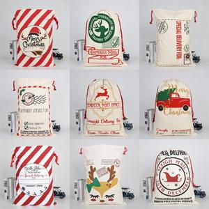 Ornamento Decoração Feliz Natal trenó Elks lona de Santa Sack Drawstring Bag 2020 pesado Bolsa presente de doces 50 * 70 centímetros 10 9bya C2