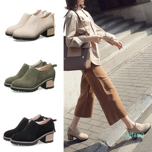 Wholesale-Classic Design Comfortable Suede Chunky Heel Back Bowknot Desert Ankle Short Boots for Women Ladies Booties