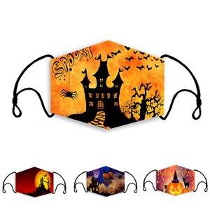 Cadılar Bayramı Partisi Maskeler 3D Baskılı Korku Hayalet Kabak Desenler Çocuklar Yetişkin Pamuk Yüz Yıkanabilir çok kullanımlık maske