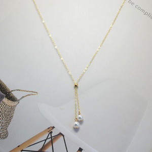 Domino Handmade Freshwater Pearl Necklace Length Could Be Changed Elegant Collarbone Chain
