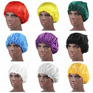 Elástica Artificial gorro de seda real Dormir quimioterapia Proteger pelo del sombrero puro color del cordón Caps gorros de ducha DHF1172