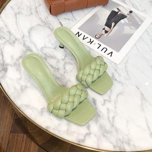 2020 New Design Weave Women Slipper Ladies Thin High Heel Sandal Open Toe Slip On Summer Outdoor Slides Flip Flop Shoe