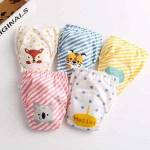 2pcs Adjustable Baby Gauze Cloth Diaper Washable Training Pants Cartoon Print Diapers Nappy Embroidery Reusable Learning Pant