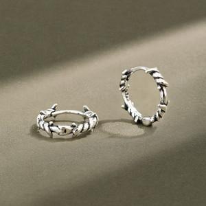 Reale 925 Sterlingsilber-Ohrring-Frauen 2020 Vintage Retro Twist Hoope Ohrringe für Frauen Kleiner Kreis-Silber-Schmuck