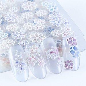 Белые цветы 5D Резные ногтей наклейки гравированные Лепесток Slider самоклеющиеся Таблички Nail Art Decoration Полная Wrap BE1019 P7OR #