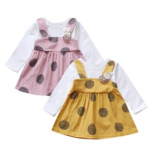 DHgate Fashion Toddler Kid Baby Girl Long Sleeve Rabbit Floral Princess Dress Tops Clothes Clearance newst baby dress Z0208