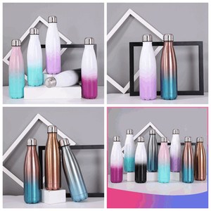 8 Colors 17oz Cola Shaped Water Bottle with Gradient Color 500ml Stainless Steel Cola Bottles Colorful Double Walled Insulated Thermos R3399