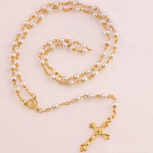 White Pearl Halskette Gold Rosenkranz-Korn-Kette Religiöse Jesus-Kreuz-Halskette für Frauen 6mm Förderung-Preis New Hot