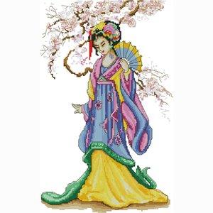 tejido artesanal por mayor de alta calidad de tela hecha a mano kit de herramienta de bordado chino diseños impresos impresa punto de cruz conjunto de aguja de regalo