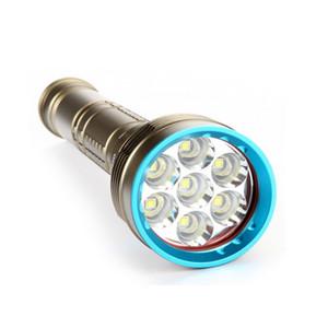 DX7 LED 다이빙 손전등 7 × XM-L2 7000LM 손전등 중 100M 방수 램프 토치 3x18650 + 배터리 충전기