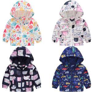 Cartoon Cat&Car Kids Clothes Boys Girls Jackets Children Hooded Windbreaker Infant Waterproof Hoodies Baby Coat For Kids 1-5T