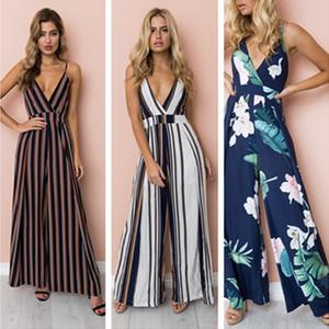 Moda Kadın Gevşek Tulumlar Flora Çizgili askı pantolon Bayanlar Kolsuz Genel Geniş Bacak Uzun Pantolon Giyim LY8035 butik